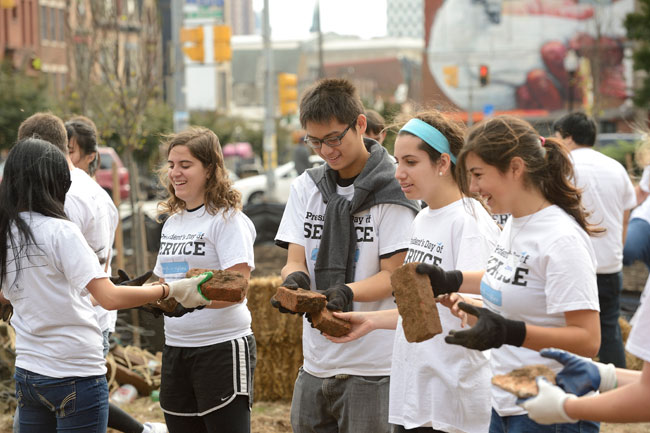 Students at the President's Day of Service